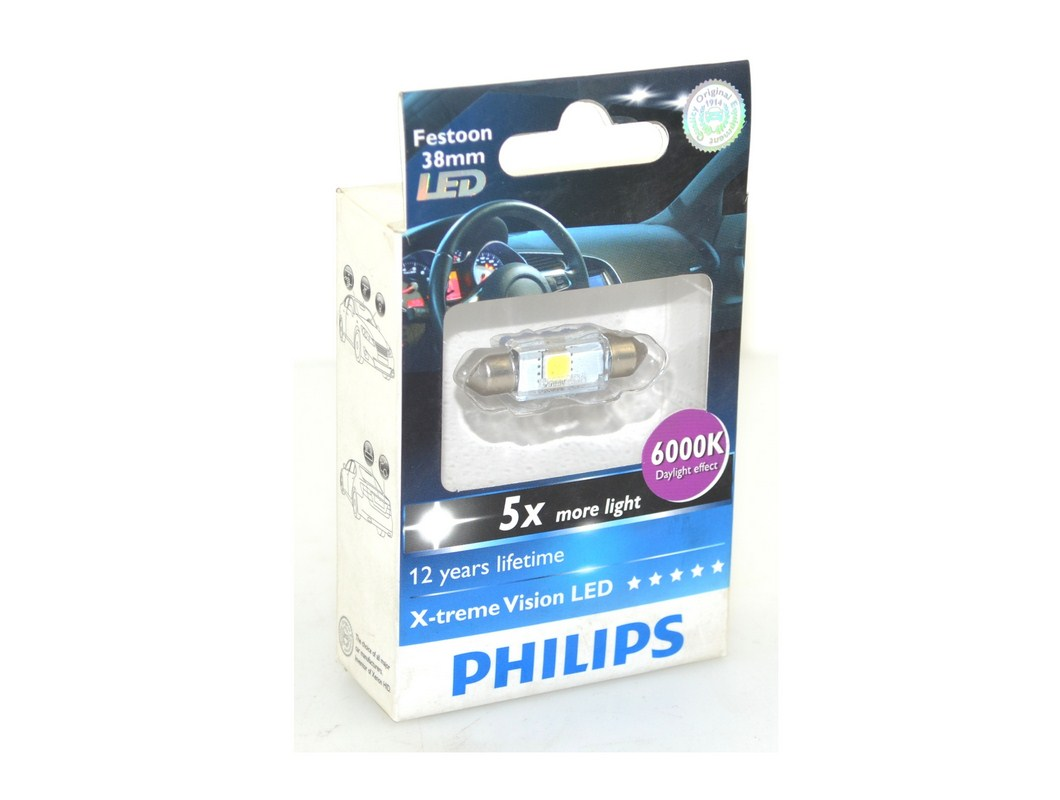 PHILIPS X-TREME VISION 128596000KX1 C5W LED 6000K 38MM